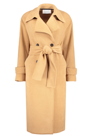 Front view image of Harris Wharf London Women's Oversized Trench Coat Polaire