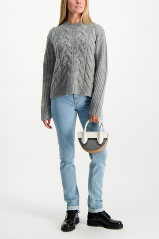 Full Body Image of model wearing Helmut Lang Women's Cable Crewneck Sweater Ash