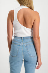Back Crop Image Of Model Wearing Helmut Lang Asymmetric Tank White