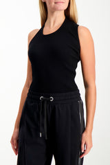 Front Crop Image Of Model Wearing Helmut Lang Asymmetric Tank Black