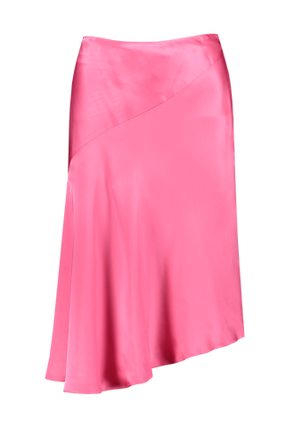 Front view image of Helmut Lang Asymmetrical Satin Skirt Neon Pink