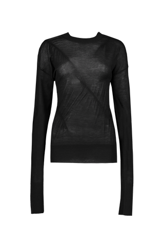 Front Image Elasticated Cashmere Crewneck Black