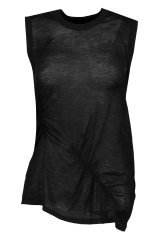 Front Image Elasticated Cashmere Tank Black