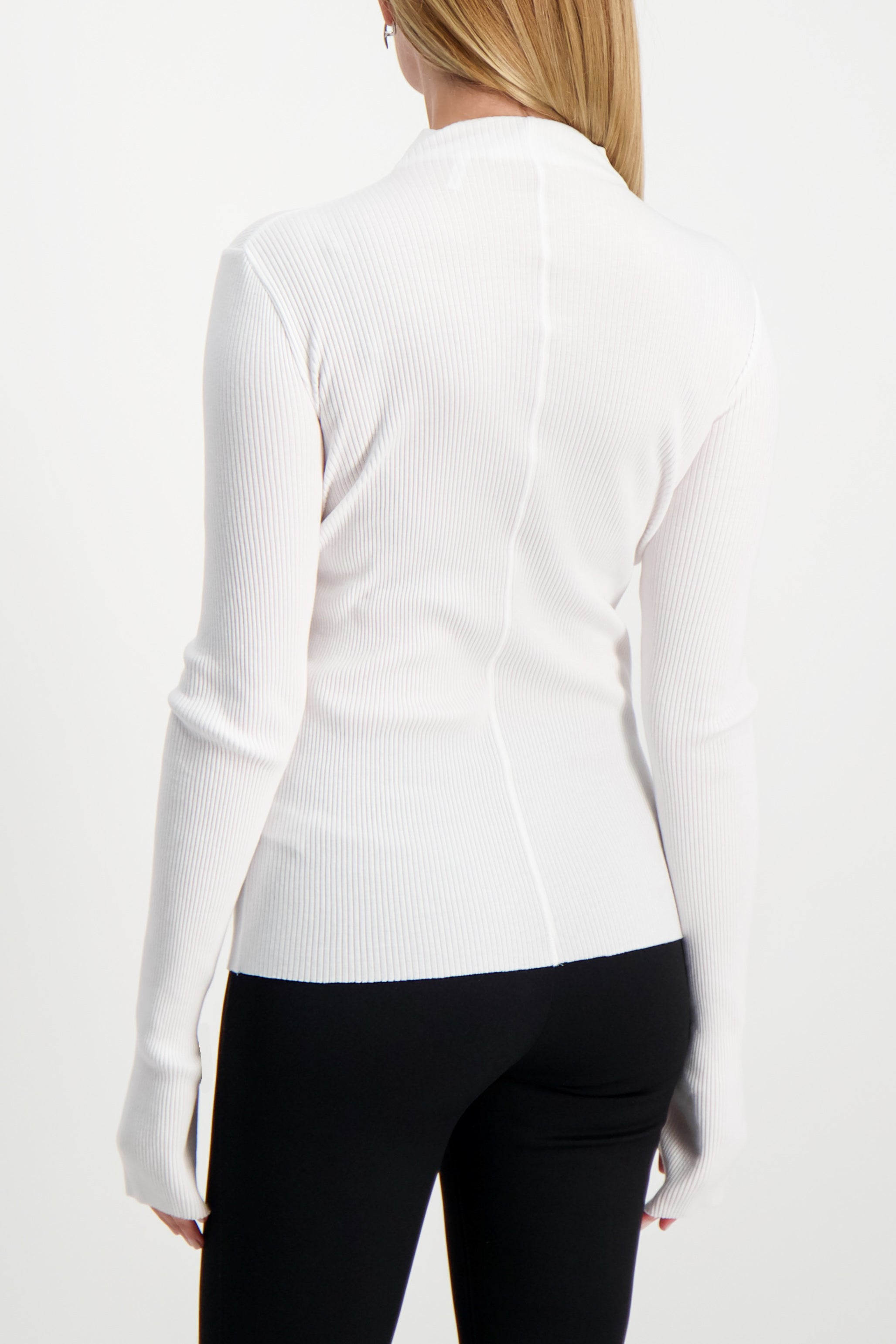 Back Crop Image Of Model Wearing Helmut Lang High Neck Rib Top White