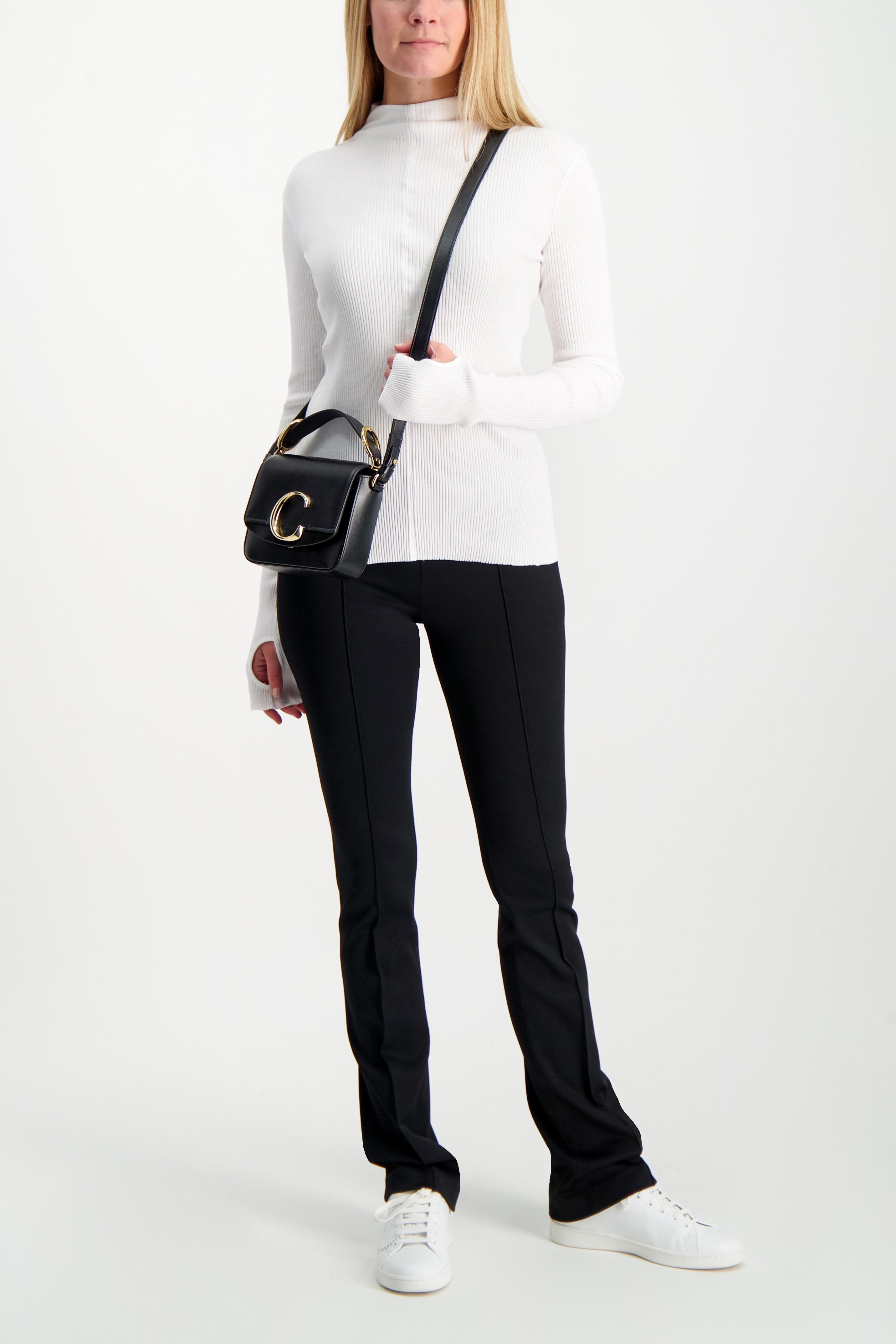 Full Body Image Of Model Wearing Helmut Lang High Neck Rib Top White