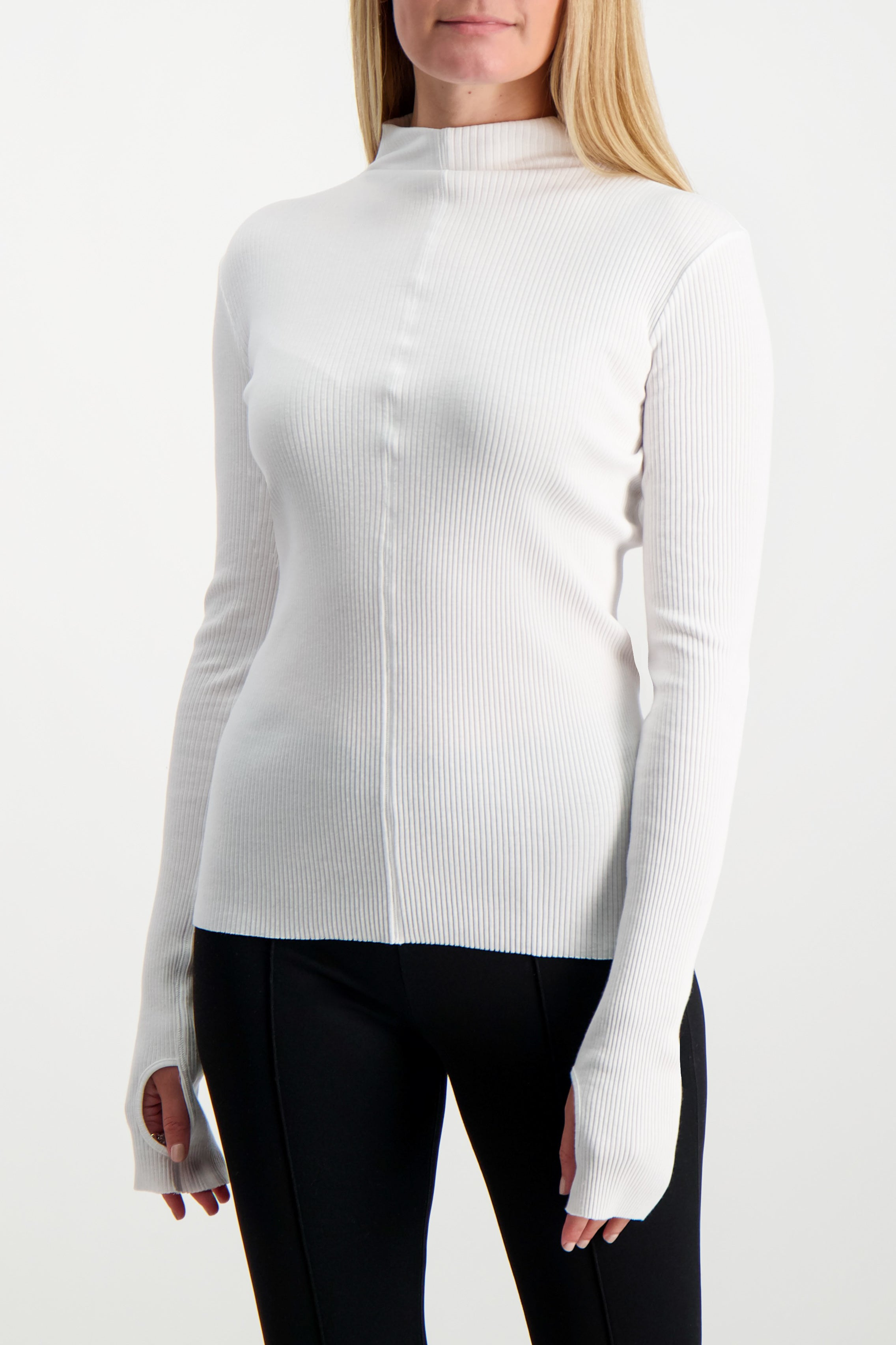 Front Crop Image Of Model Wearing Helmut Lang High Neck Rib Top White
