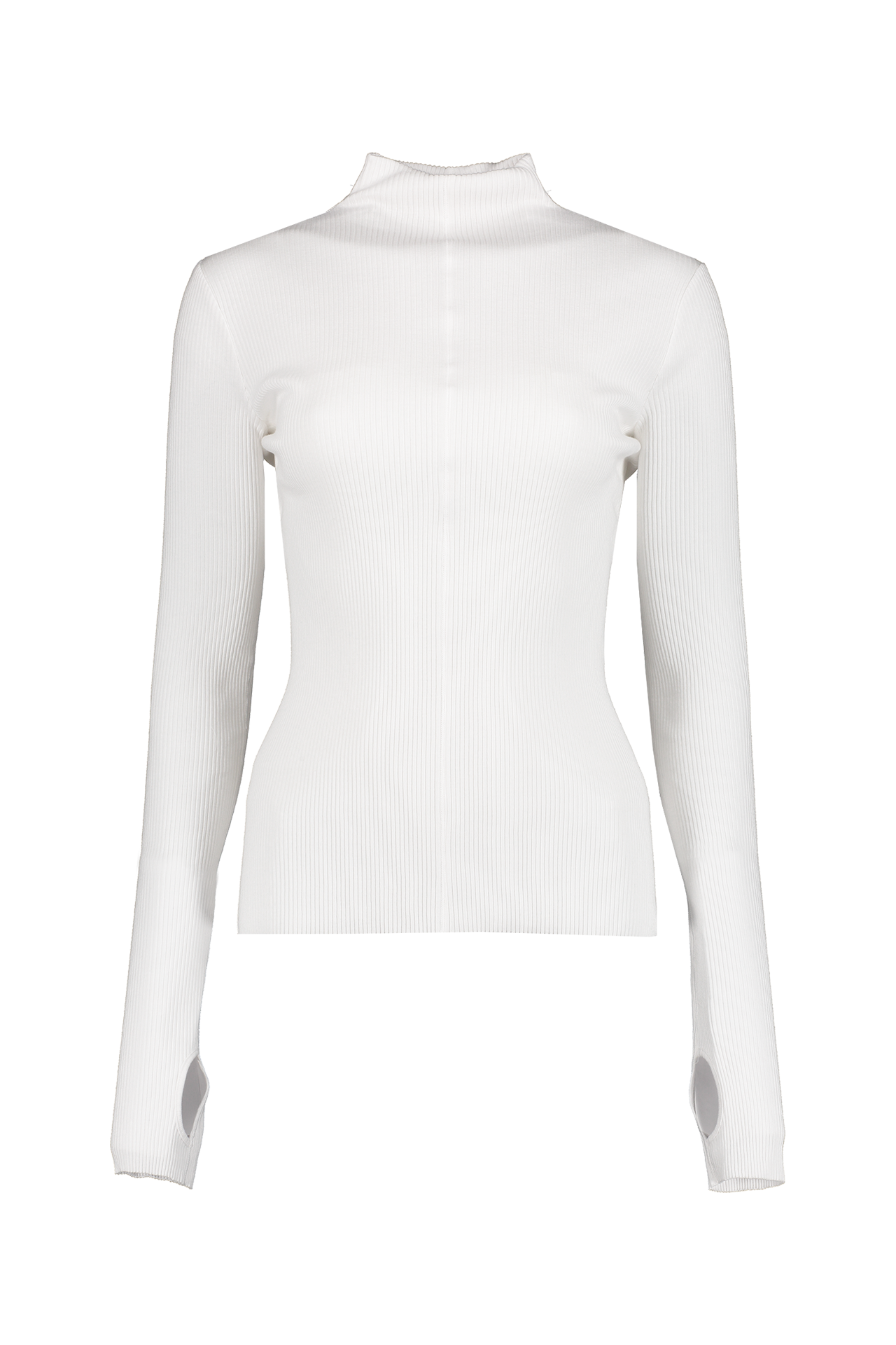 Front detail image of Helmut Lang High Neck Rib Top White