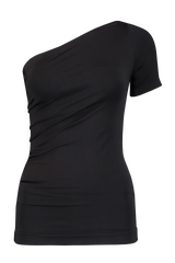 ASYMMETRIC TUBE TANK SEAMLESS JERSEY BLACK