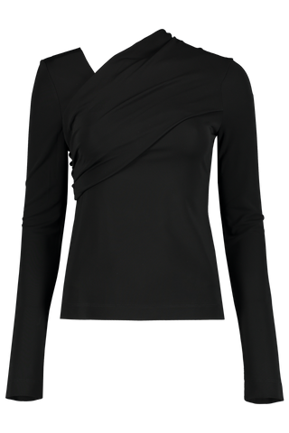 Front view image of Helmut Lang Viscose Long Sleeve Top Onyx