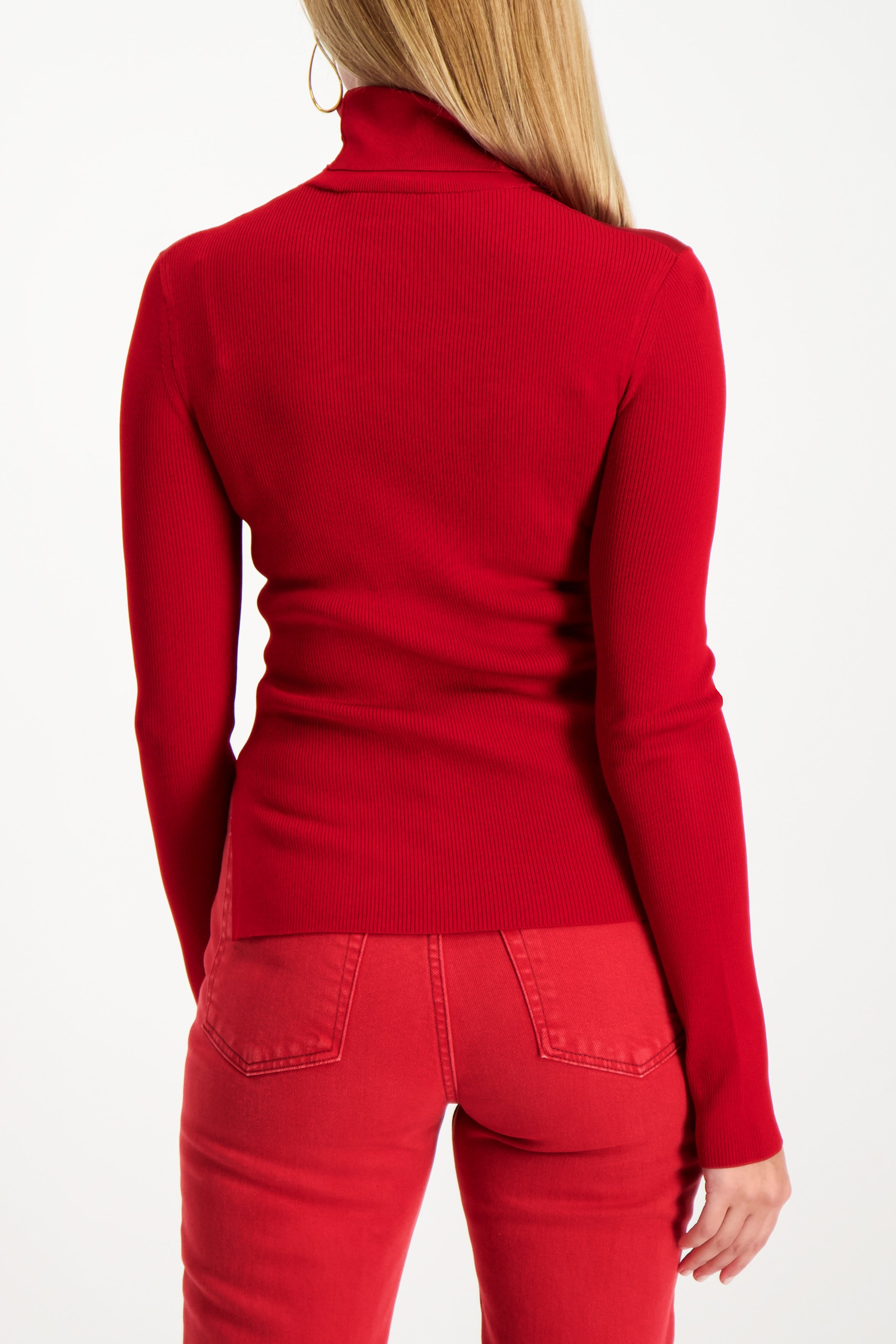 Back Crop Image Of Model Wearing Helmut Lang Viscose Stretch T-Neck Lava