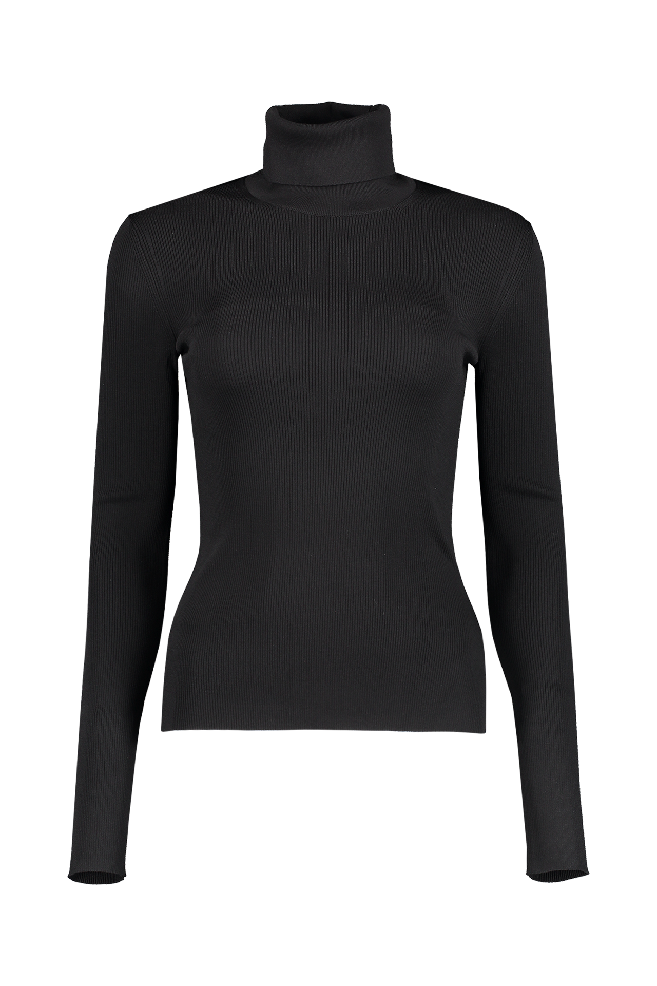 Front detail image of Helmut Lang Women's Viscose Stretch T-Neck Black