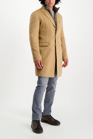 Full Body Image Of Model Wearing Cashmere Camel Coat With Removable Wind Guard