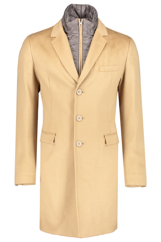 Front view image of Herno Men's Cashmere Camel Coat Removable Wind Guard