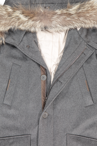 Cashmere Grey Anorak With Fur Trimmed Hood