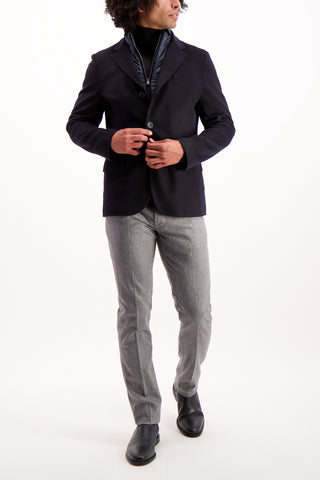 Full Body Image Of Model Wearing Herno Men's Cashmere Navy Blazer With Removable Wind Guard