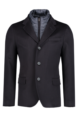Front Crop Image Of Herno Men's Cashmere Navy Blazer With Removable Wind Guard