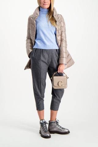 Full Body Image Of Model Wearing Herno Women's Classic Nylon Hilo Jacket Taupe