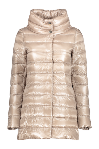 Front image of Herno Women's Classic Nylon Hilo Jacket Taupe