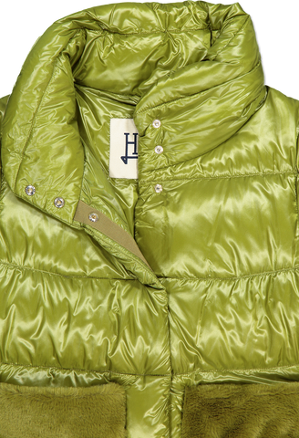 Front collar detail image of Herno Women's Nylon Jacket Faux Fur Pockets Avocado