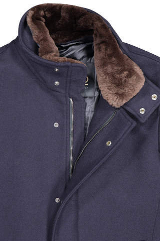 Front collar and zipper detail image of Herno Men's Diagonal Navy Wool Coat