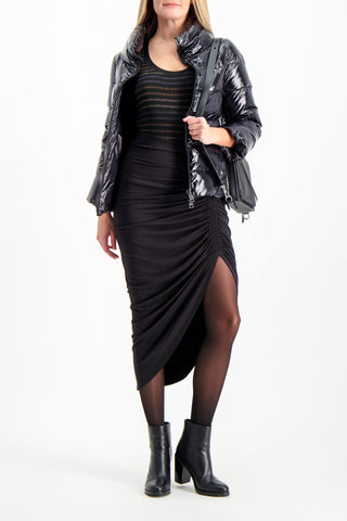 Full Body Image Of Model Wearing Herno Women's Gloss 3/4 Sleeve Jacket Black