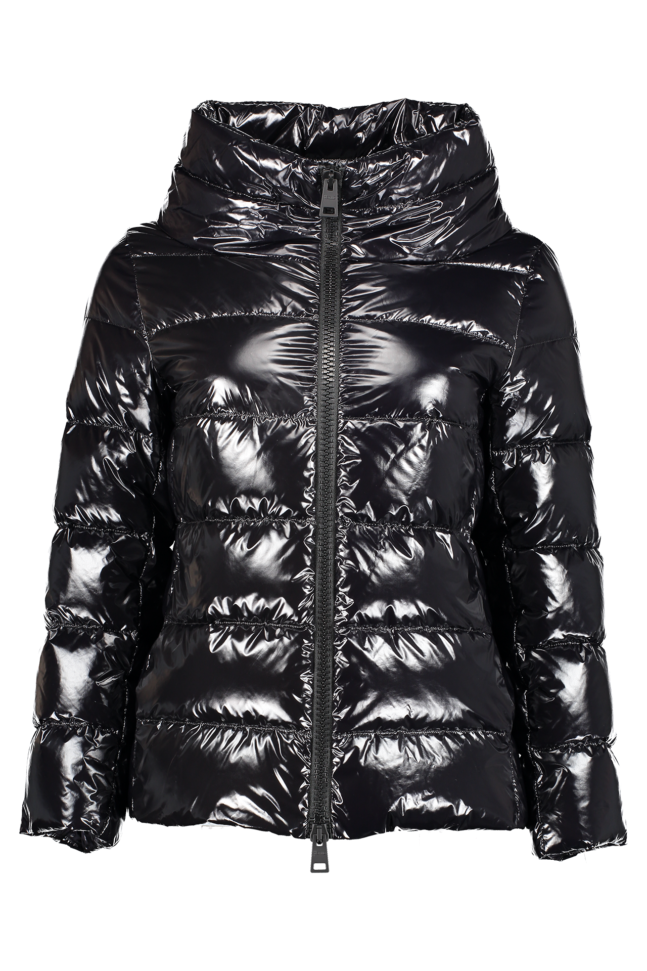 Front image of Herno Women's Gloss 3/4 Sleeve Jacket Black