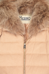 Front collar detail image of Herno Women's Silk Cashmere Hilo Jacket Fox Collar