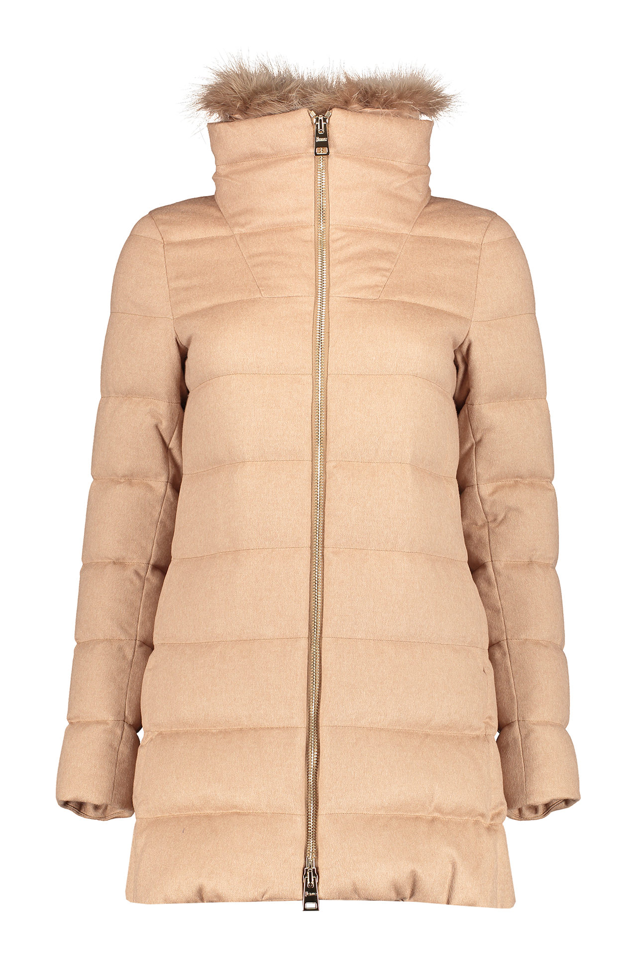 Front image of Herno Women's Silk Cashmere Hilo Jacket Fox Collar