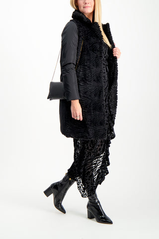 Full Body Image Of Model Wearing Herno Women's Textured Velvet Sateen Coat