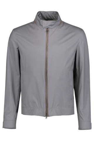 WOOL SILK JACKET ALCANTATA TRIM GREY