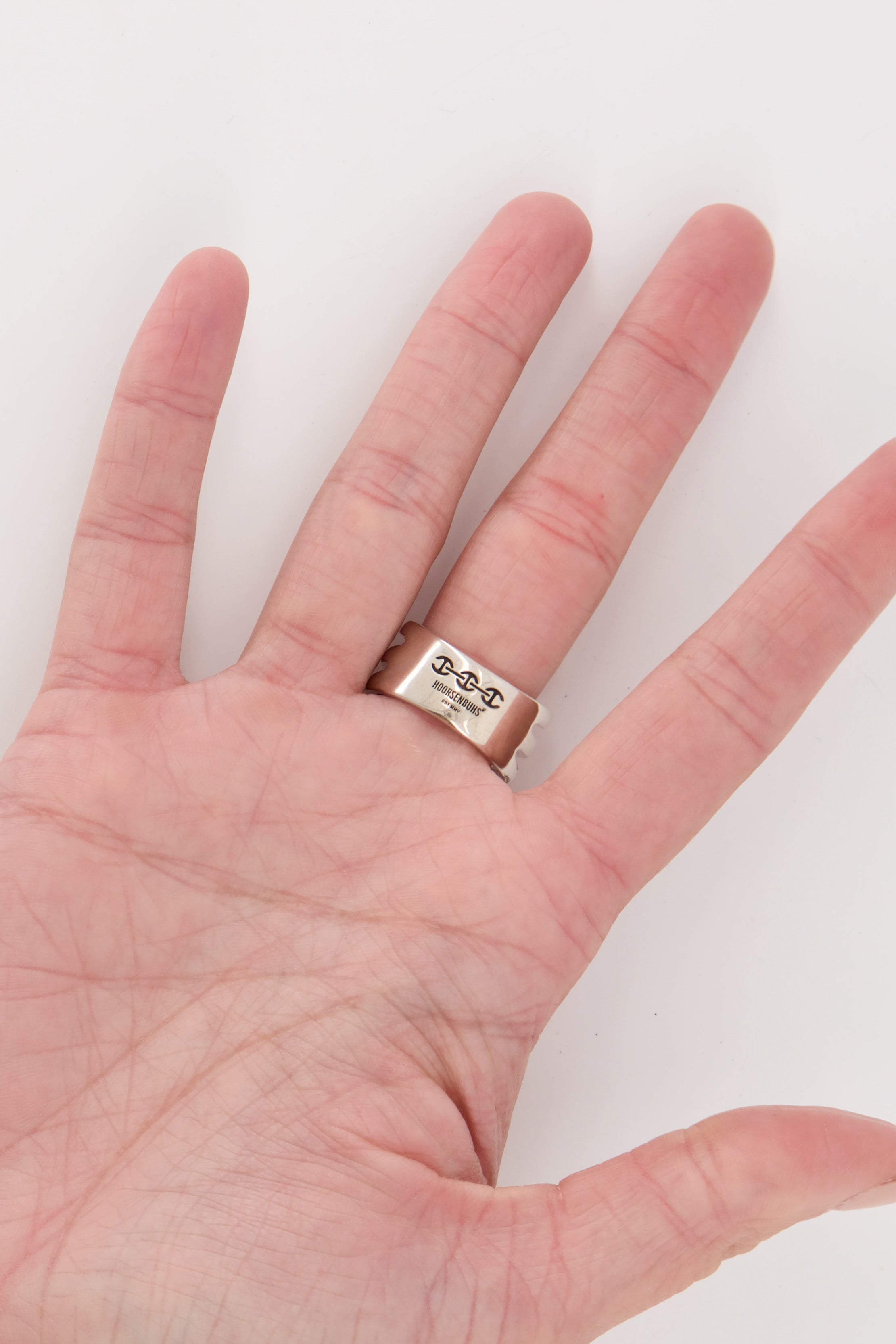 Image of Hoorsenbuhs Asset Ring With Diamond Hits on palm side of model's hand
