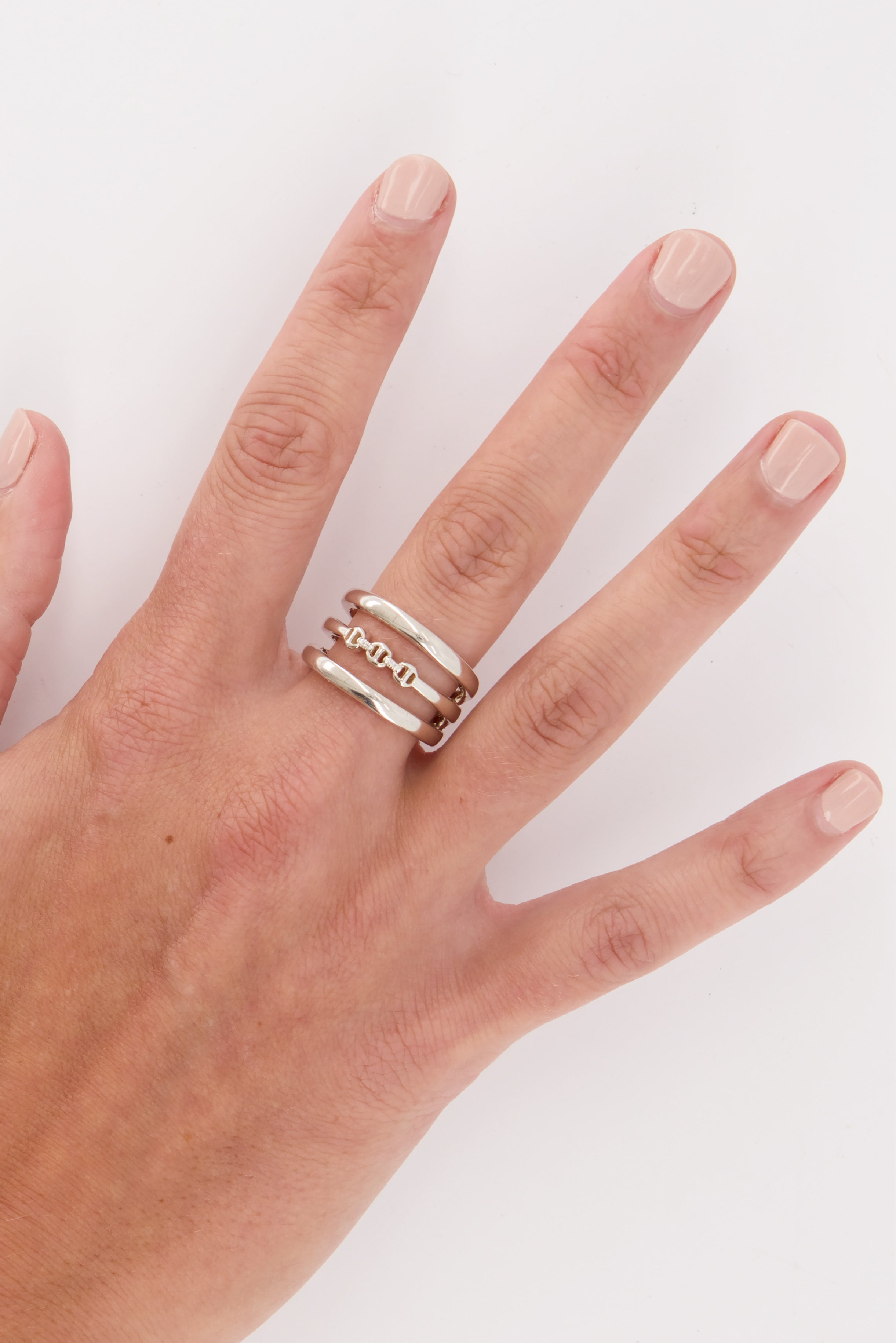 Image of Hoorsenbuhs Asset Ring With Diamond Hits on back of model's hand