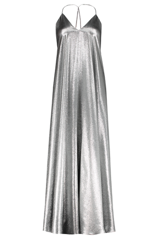 Camille Plain Lurex Dress Silver