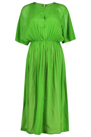 Daria Silk Voile Gathered Dress Green