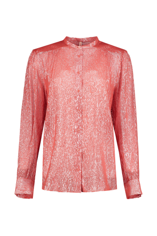 Nathalie Sparkling Lurex Blouse Red