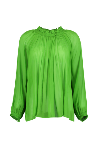 Ophelie Silk Voile Gathered Blouse Green