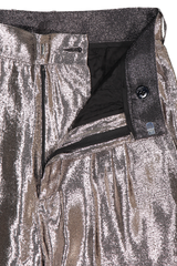 Zipper Detail Image Of Indress Silk Lurex Pant Silver