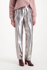 Front Crop Image Of Model Wearing Indress Silk Lurex Pant Silver