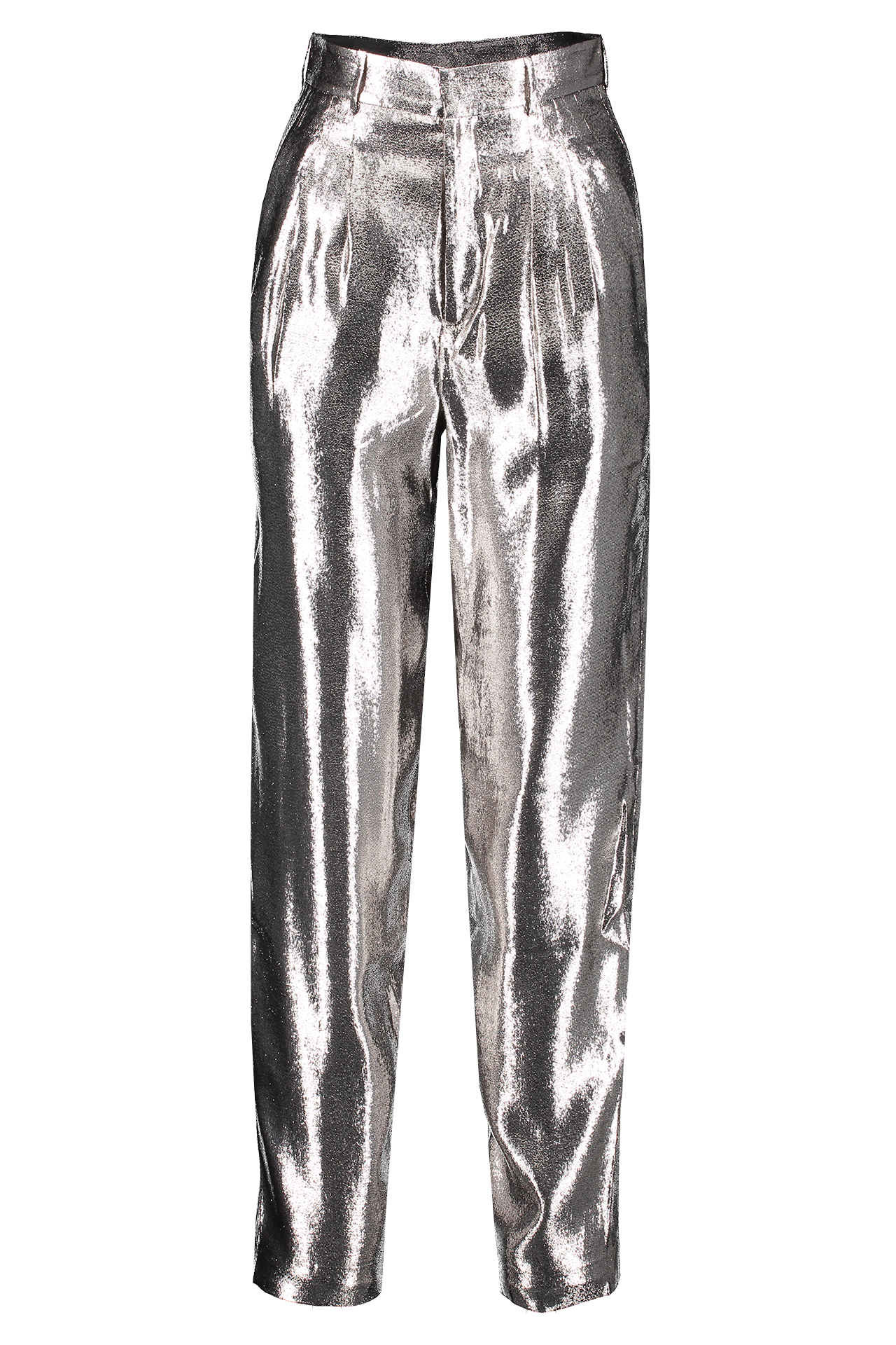 Front Image Of Indress Silk Lurex Pant Silver