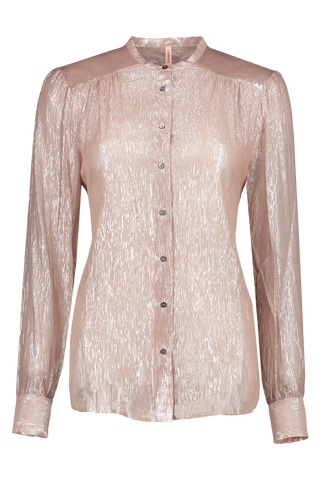 Front Image Of Indress Sparkling Silk Blouse Beige