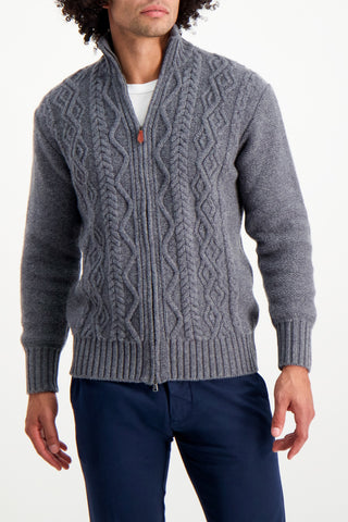 Front Crop Image Of Model Wearing Aran Cable Knit Zip Cardigan Sweater Grey