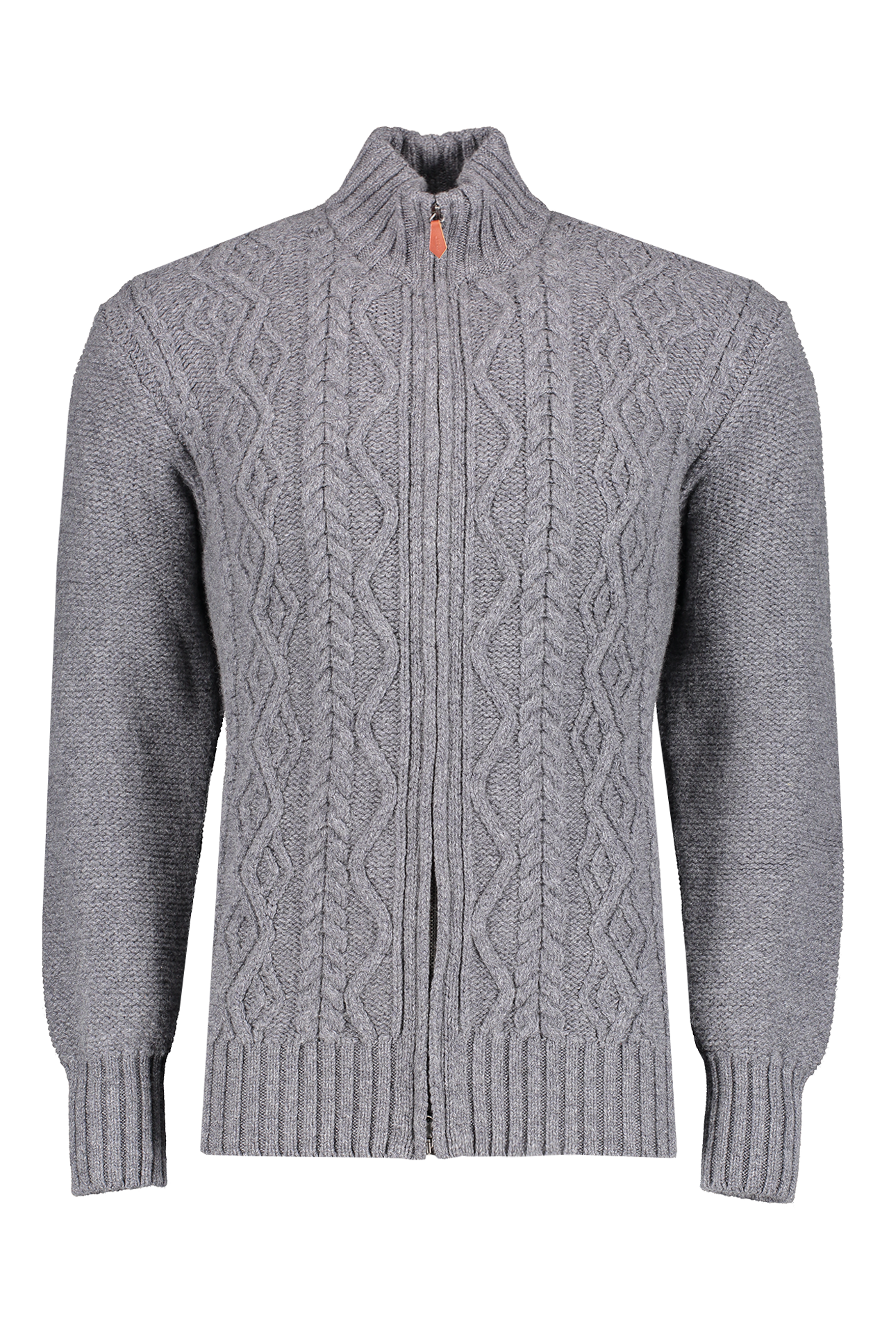 Front view image of Inis Miàn Aran Cable Knit Zip Cardigan Sweater Grey