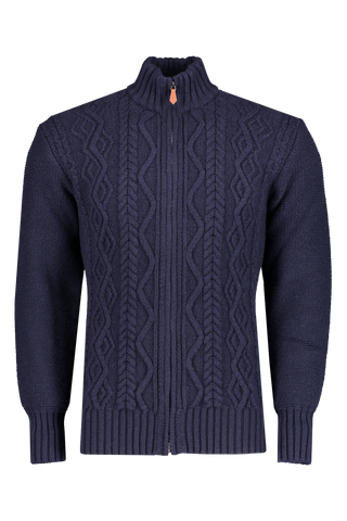 Front view image of Inis Meáin Aran Cable Knit Zip Cardigan Sweater Navy