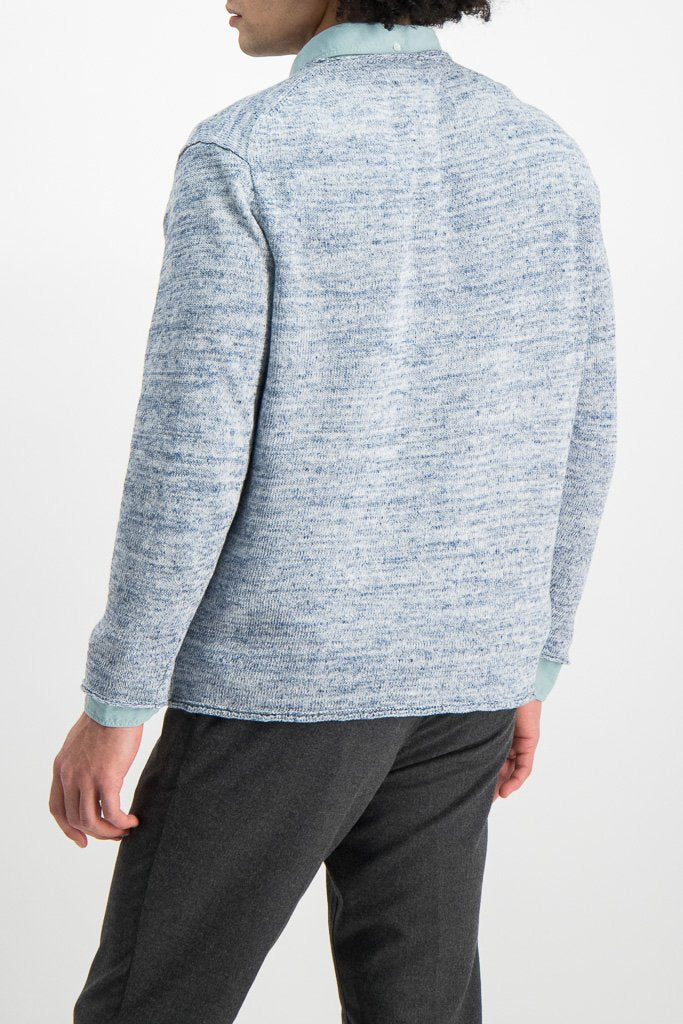 Back Crop Image Of Model Wearing Crew Tunic Sweater Harebell