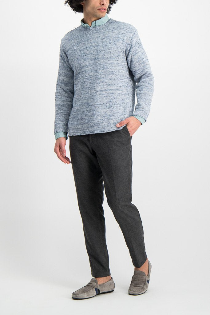 Full Body Image Of Model Wearing Crew Tunic Sweater Harebell