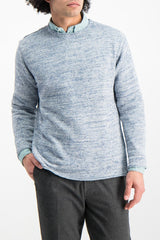 Front Crop Image Of Model Wearing Crew Tunic Sweater Harebell
