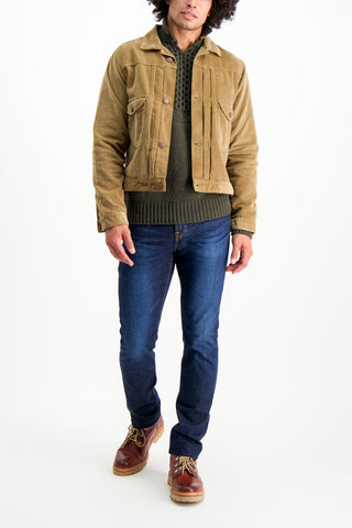 Full Body Image Of Model Wearing Fisherman Button Up Mock Neck Sweater Olive