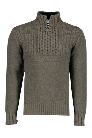 Front view image of Inis Meáin Fisherman Button Up Mock Neck Sweater Olive