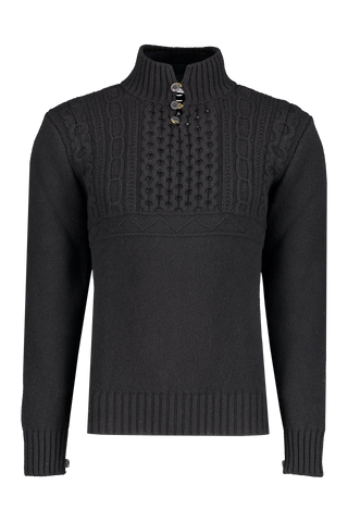 Front view image of Inis Meáin Fisherman Button Up Mock Neck Sweater Black