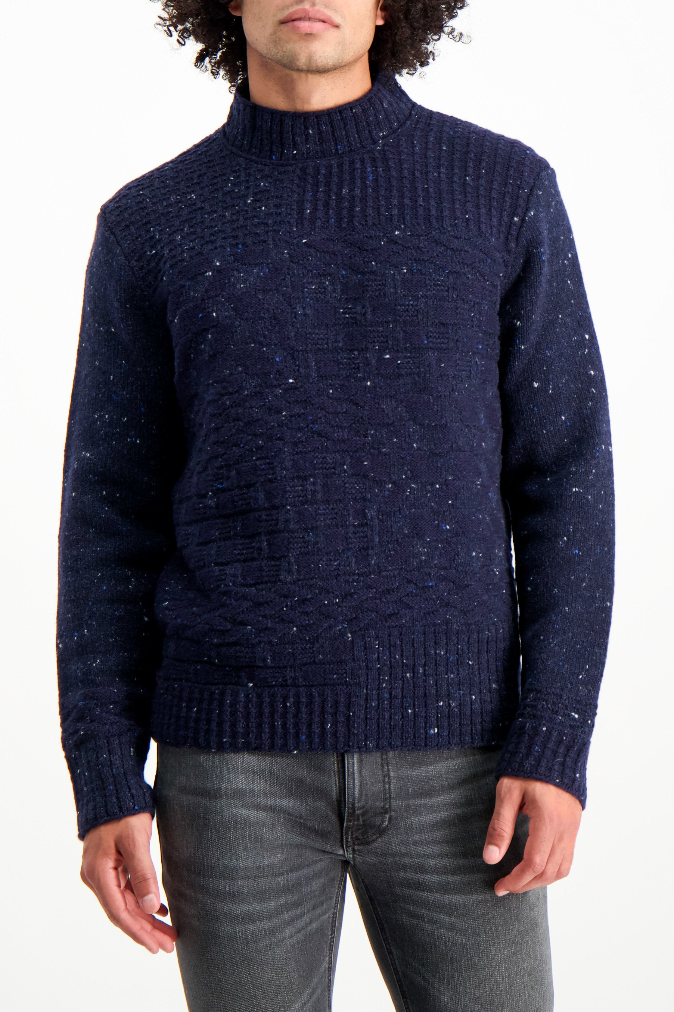 Front Crop Image Of Model Wearing High Crew Neck Sweater Navy